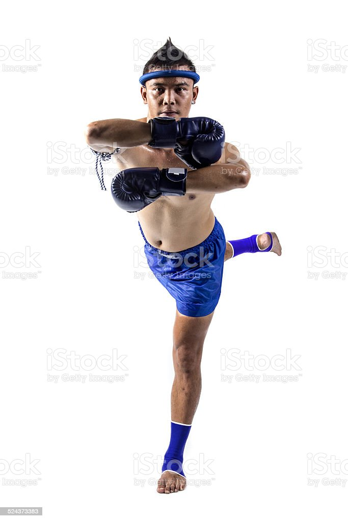 Thai boxer with boxing action stock photo