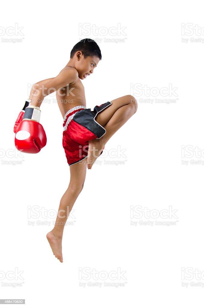 thai boxer with thai boxing action stock photo
