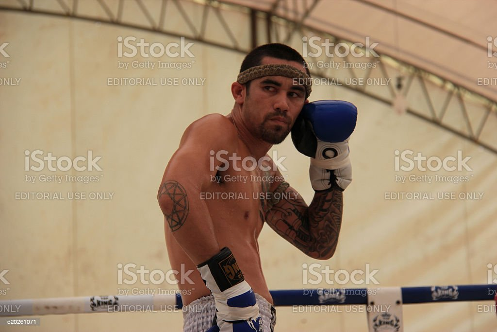 Thai Boxers were performing 'Wai Kru' stock photo