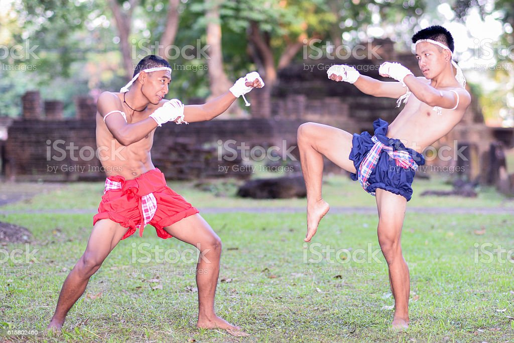 Thai Boxing, Muay Thai, Muay Boran, Martial arts of Muay Thai stock photo