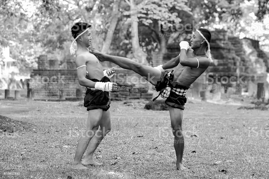 Thai Boxing, Muay Thai,Black And White stock photo