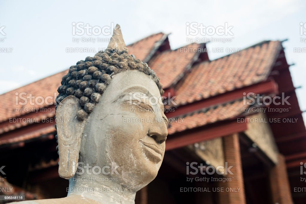Thai Buddha Head in Ancient City Temple Ayuthaya Thailand stock photo