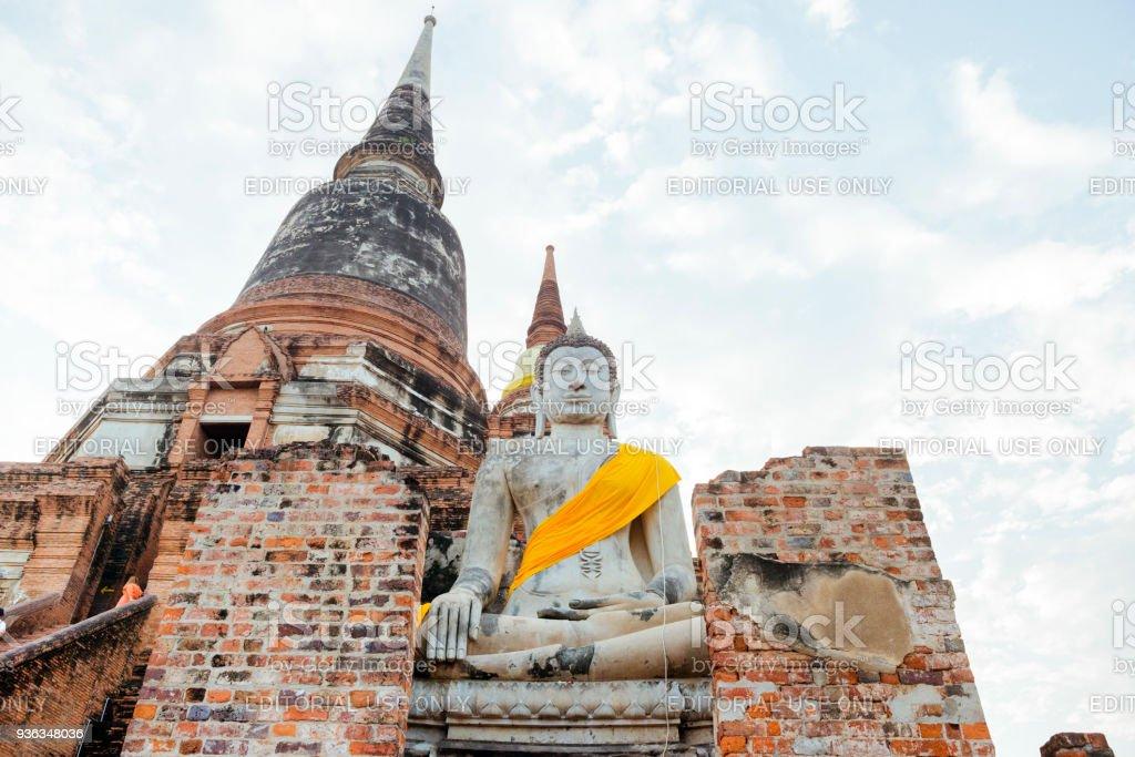 Thai Buddha in Wat Yai Chai Mongkol Temple Ayuthaya Thailand stock photo