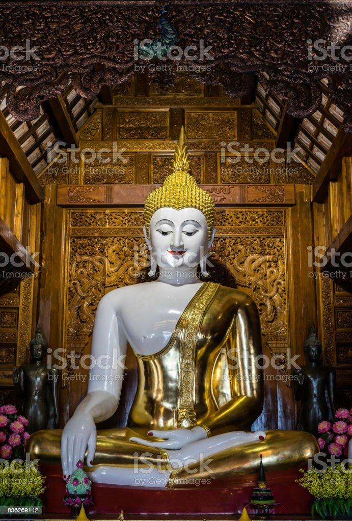 thai buddha sculpture in temple stock photo