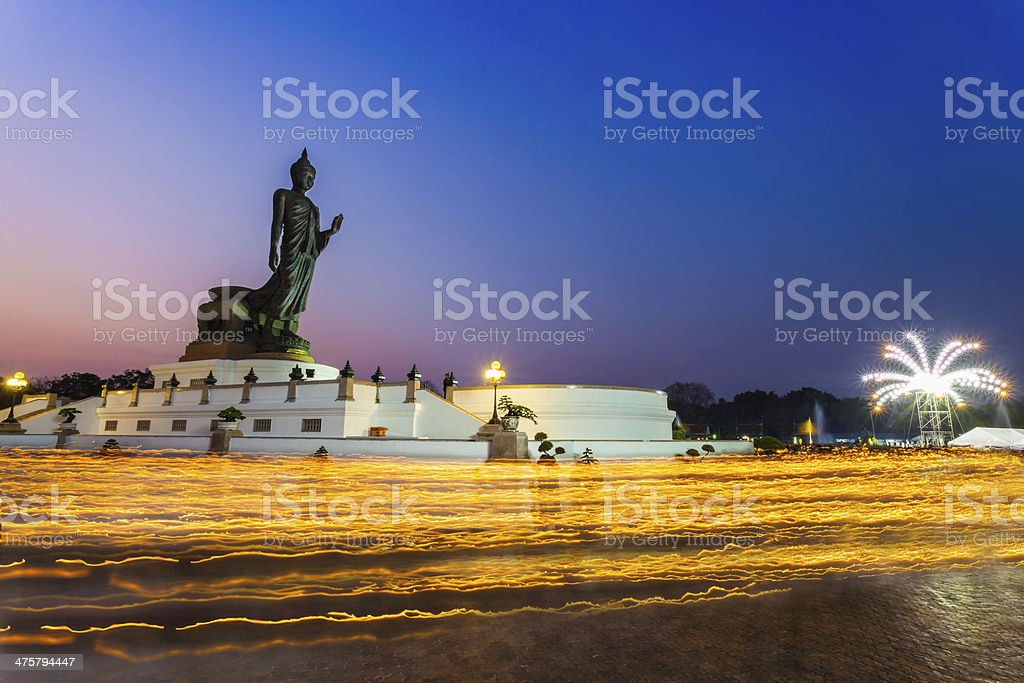 Thai Buddhism hold the fired candle stock photo