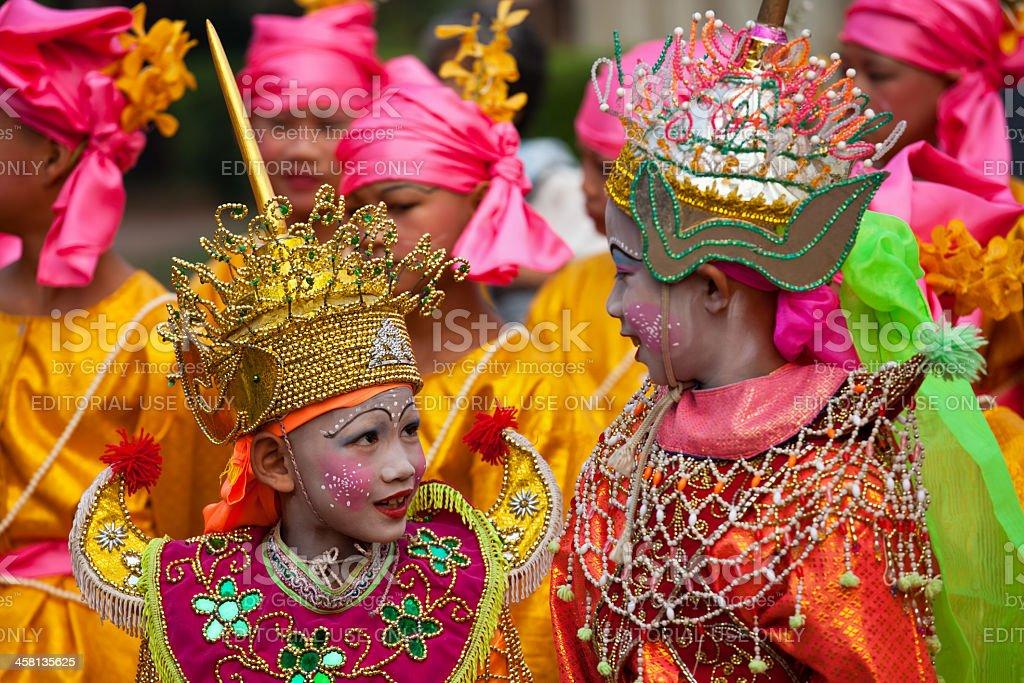 Thai Buddhist Monk ordination festivities. stock photo