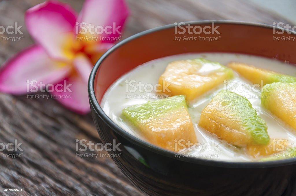 Thai cantaloupe melon in syrup stock photo