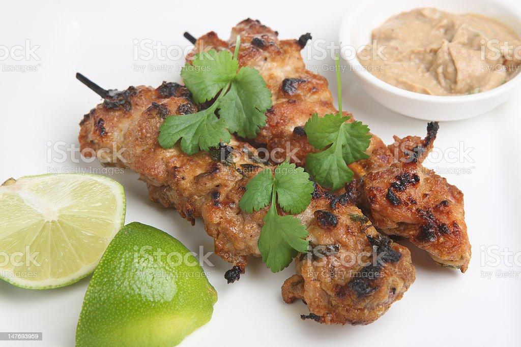 Thai Chicken Satays royalty-free stock photo