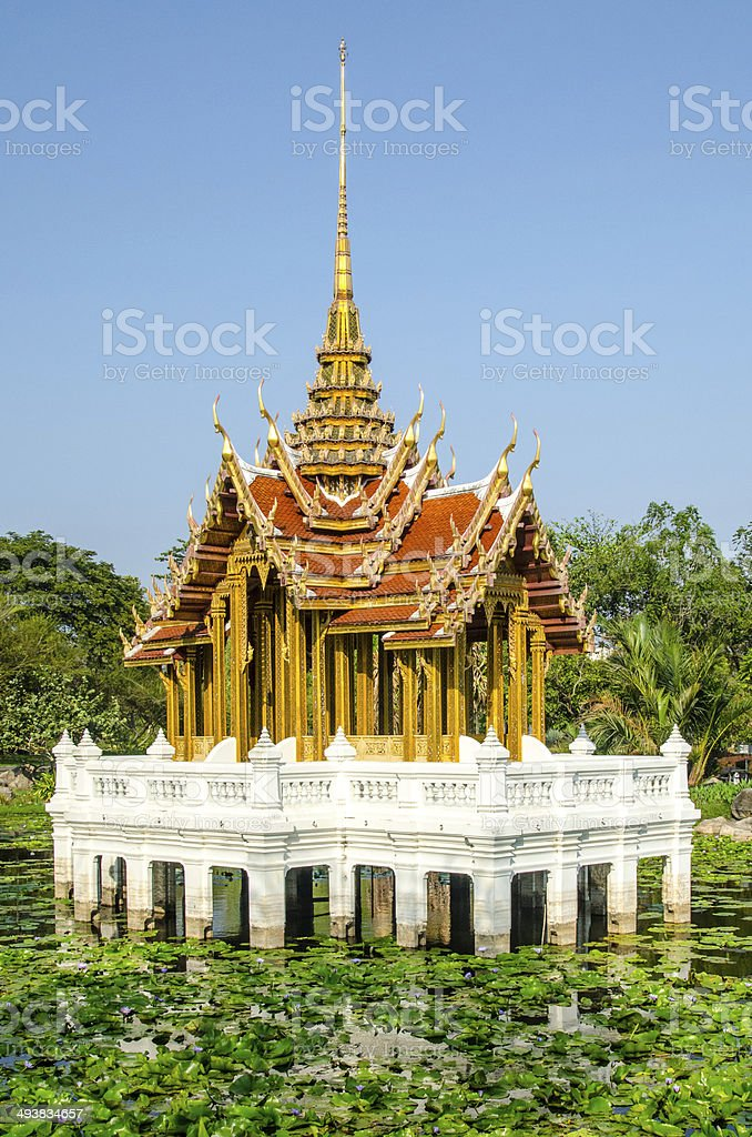 Thai Church in water stock photo
