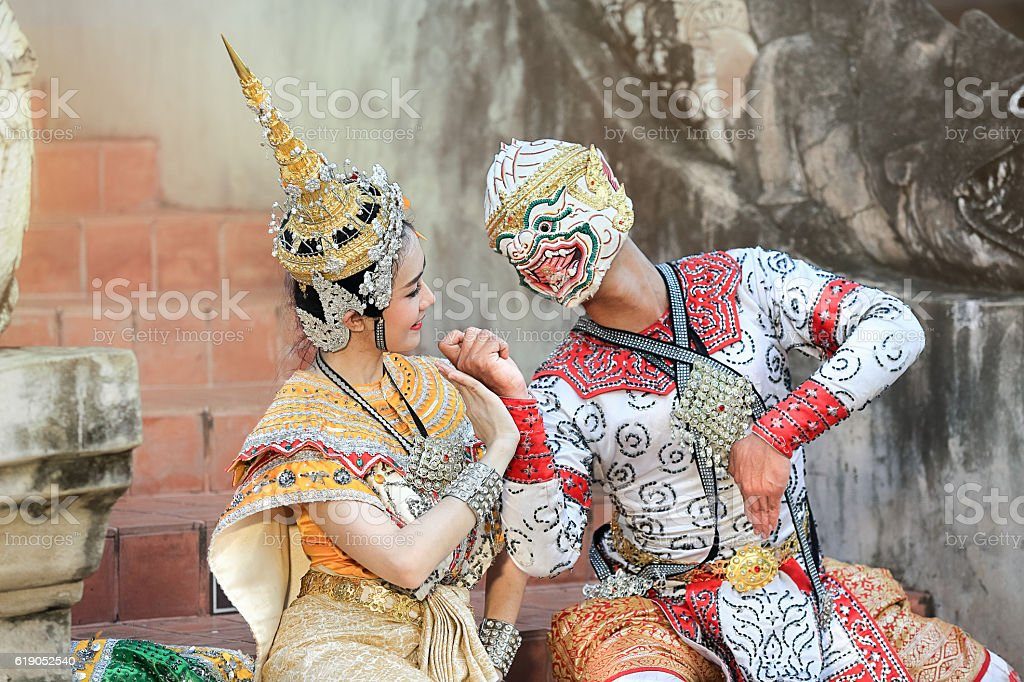 Thai classical mask dance of the Ramayana drama stock photo