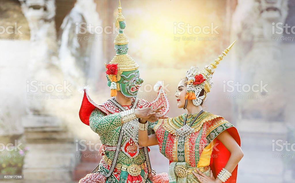 Thai classical mask dance of the Ramayana Epic stock photo