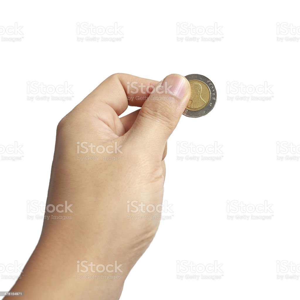 thai coin in hand royalty-free stock photo