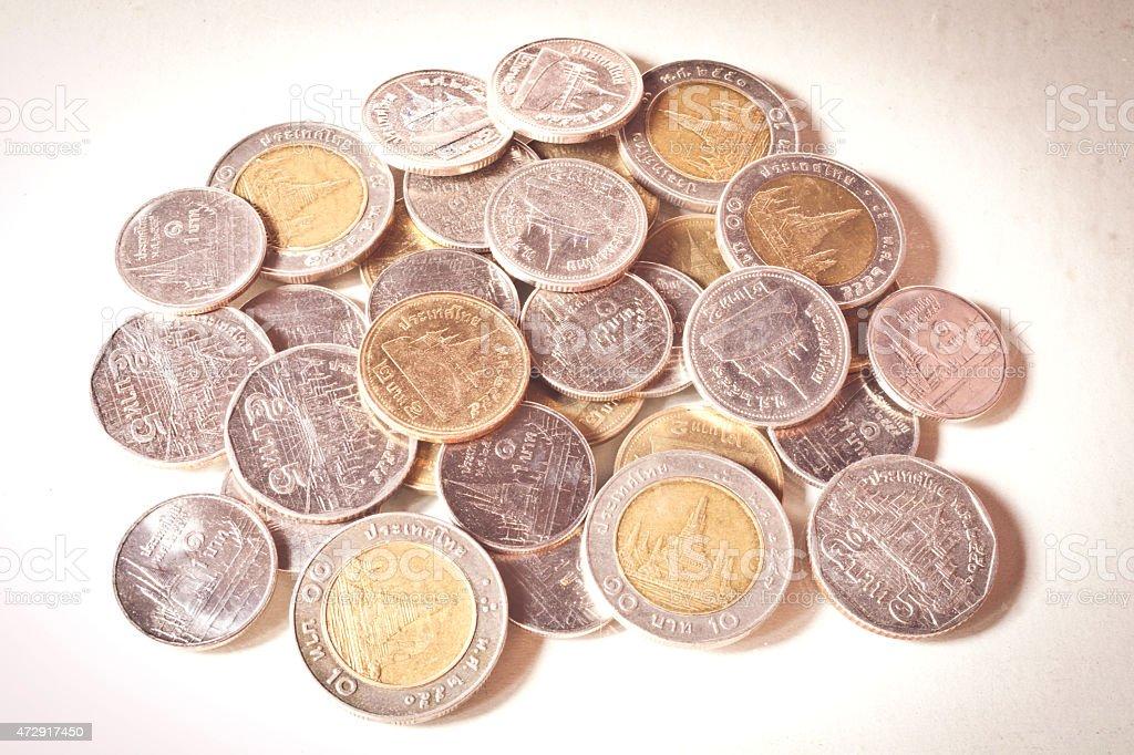 thai coins One Baht,Two Baht,Five Baht and Ten Baht. stock photo