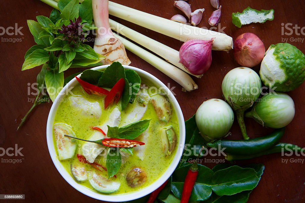 Thai Cooking: Green Curry stock photo