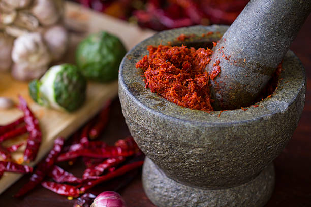 Thai Cooking Chili paste in Thai cooking curry powder stock pictures, royalty-free photos & images