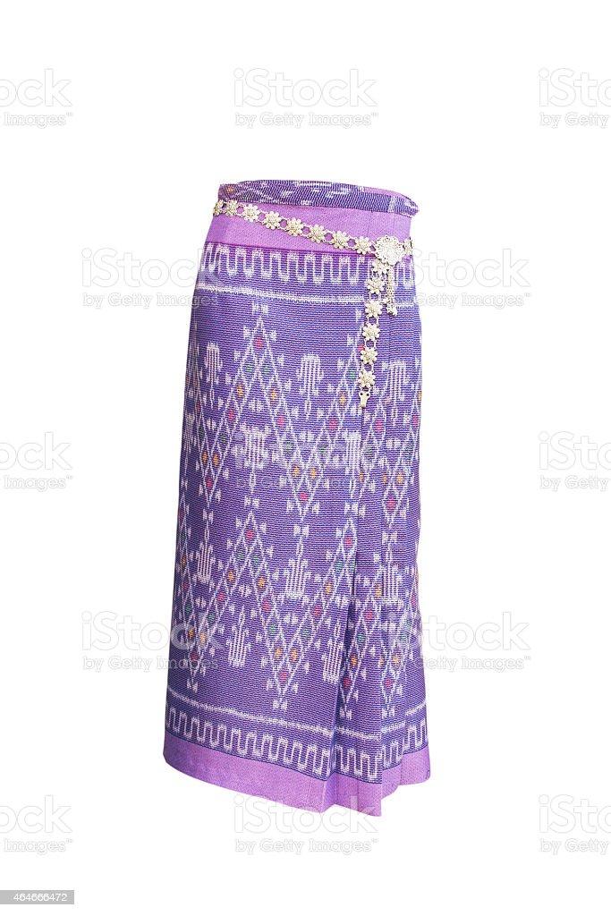 Thai Cotton skirt on white background stock photo