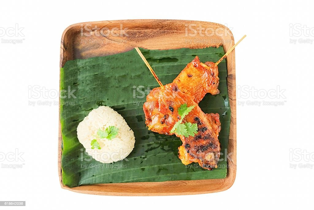 Thai cuisine, Grilled chicken , with sticky rice stock photo