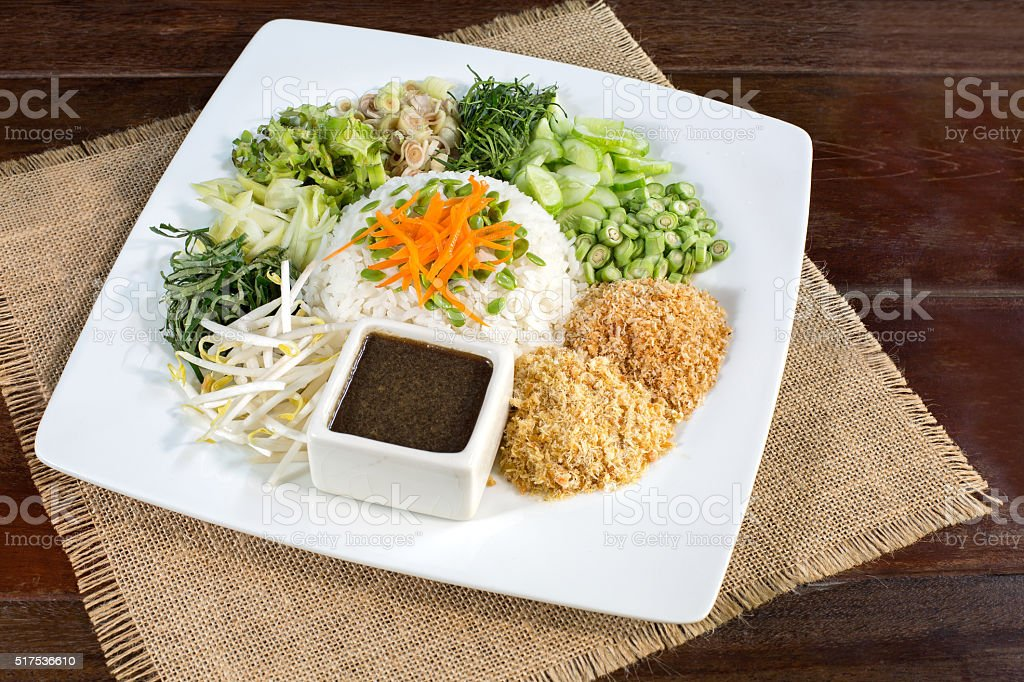 Thai Cuisine  Khao Yam in Southern Style stock photo