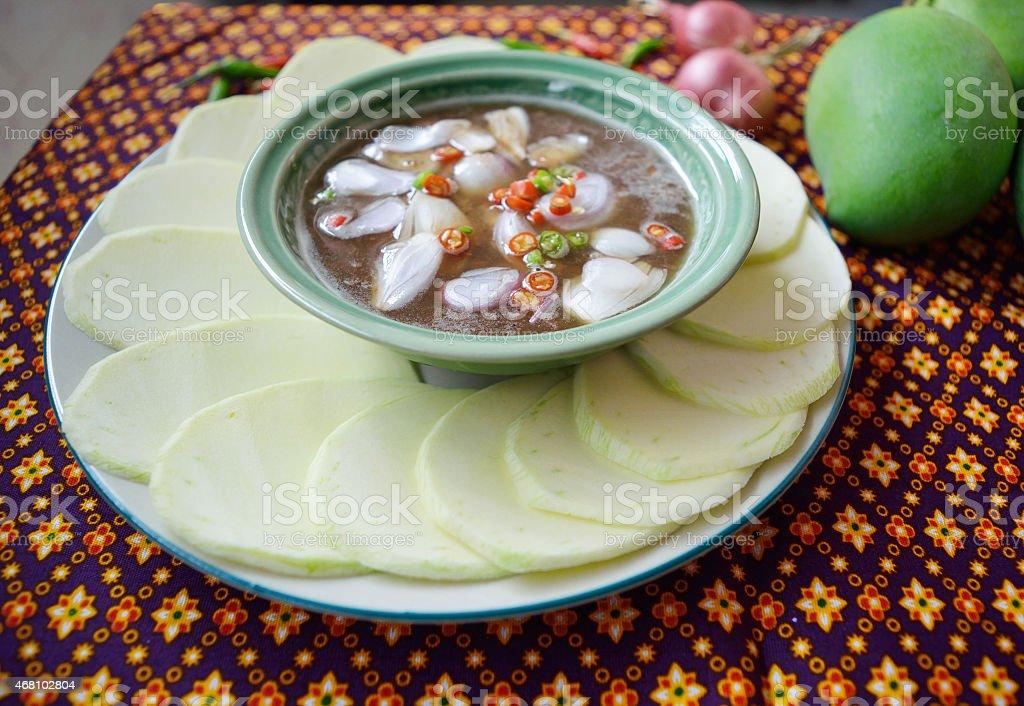 Thai cuisine, Sliced mangoes with shrimp paste sweet chilli sauce stock photo
