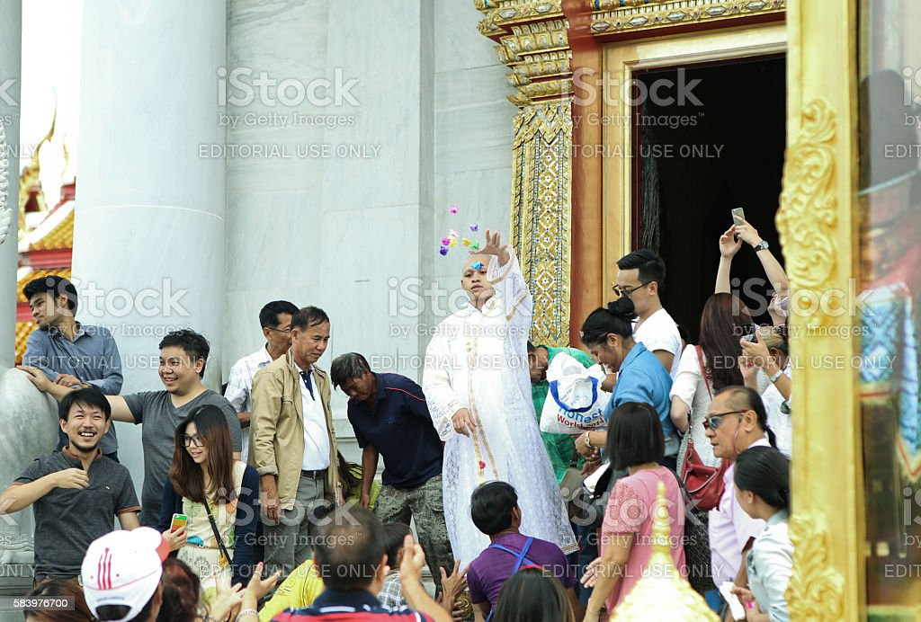 Thai Culture Buddhism Ordination Ceremony at temple. stock photo