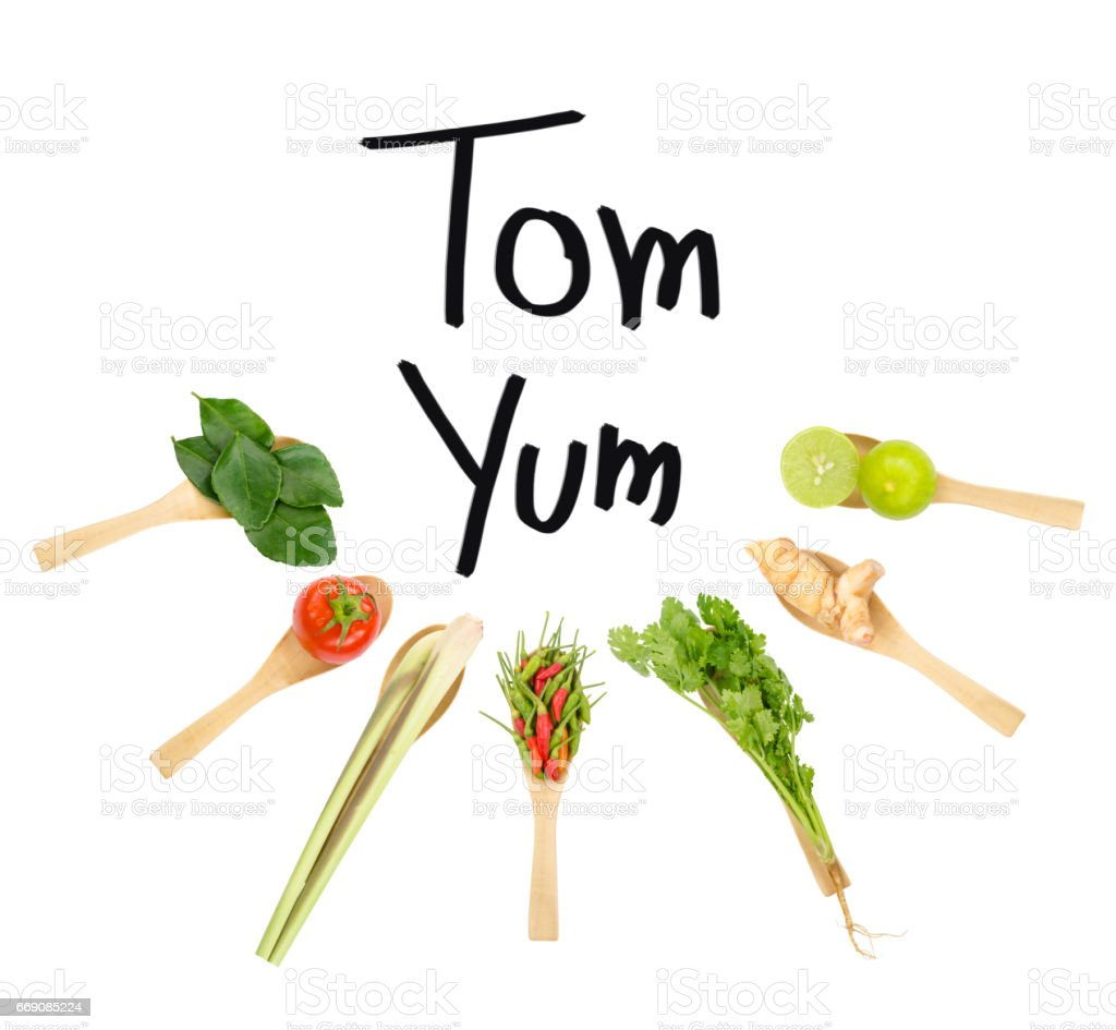 Thai delicious spicy & sour Tom Yum dish's ingredients of lemon grass, cilantro, galangal, kaffir lime leave, limes, spicy bird peppers & tomato isolated on white space background with Tom Yum wording stock photo