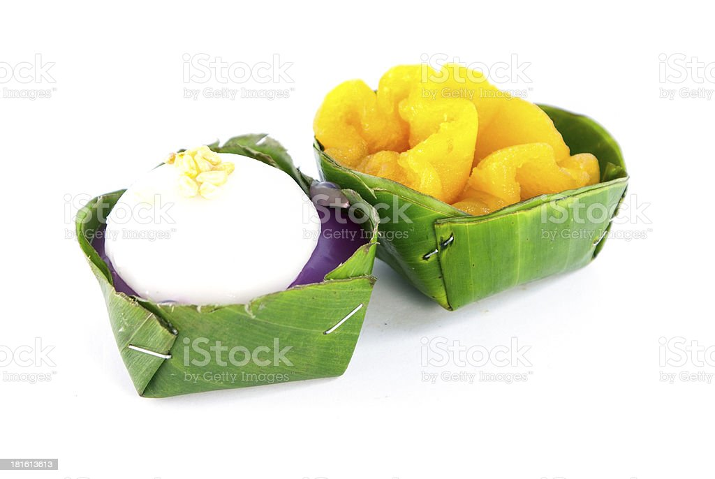Thai dessert in banana leave dish on white background royalty-free stock photo