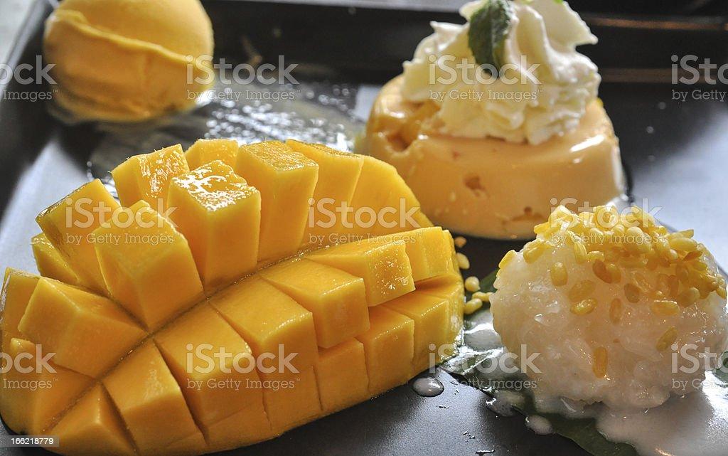 Thai dessert, mango sticky rice royalty-free stock photo