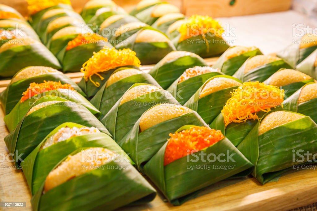 Thai Dessert Sweet Sticky Rice With Steamed Egg Custard ...