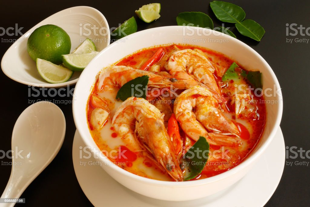 Thai famous dish,tom yum koong,tom yum soup,hot spicy and sour stock photo