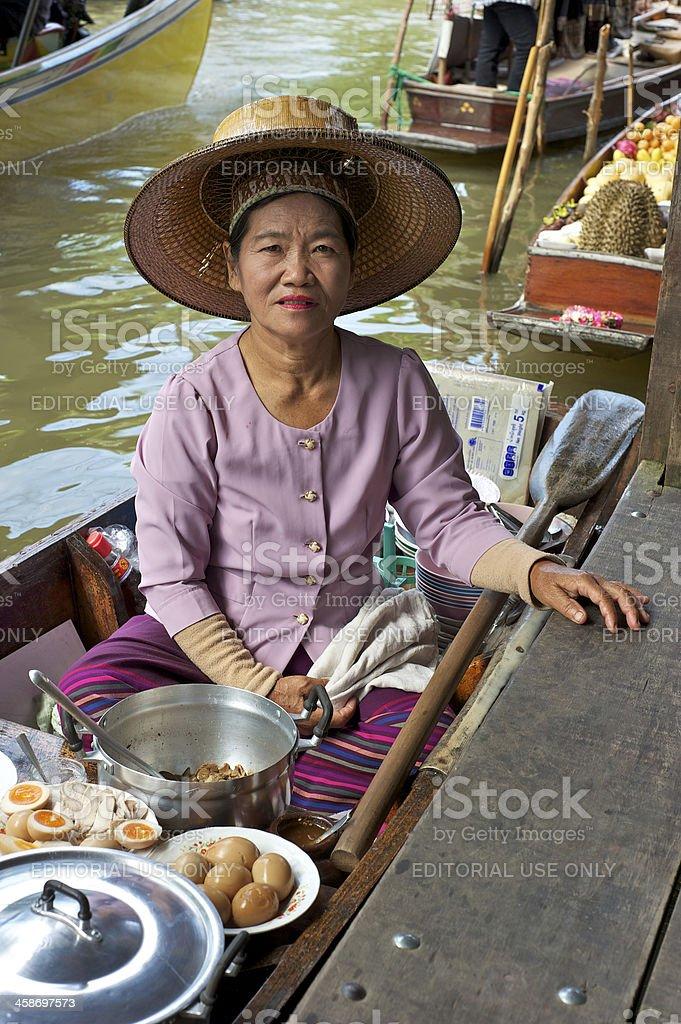 Thai Female Food Vendor stock photo