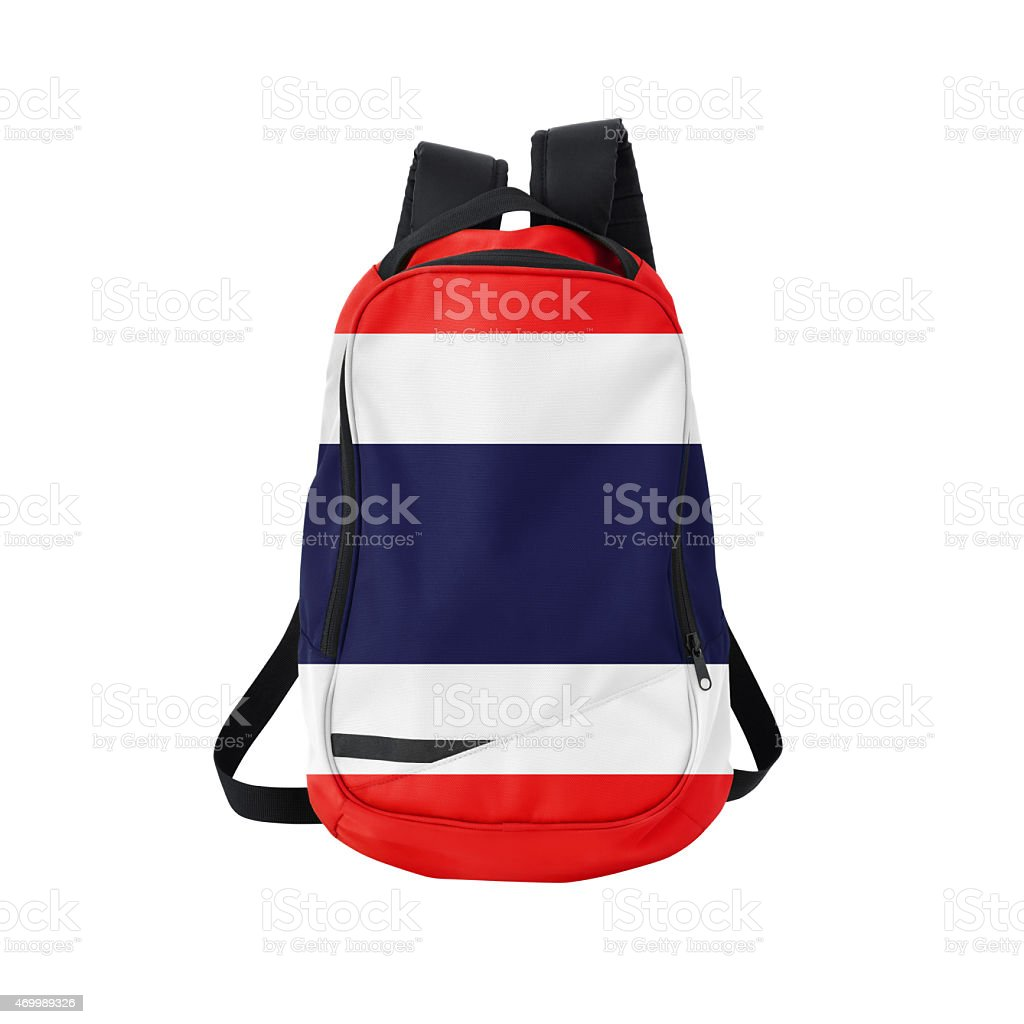 Thai flag backpack isolated on white w/ path stock photo