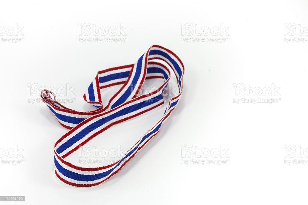 Thai flag pattern ribbon on white back ground stock photo