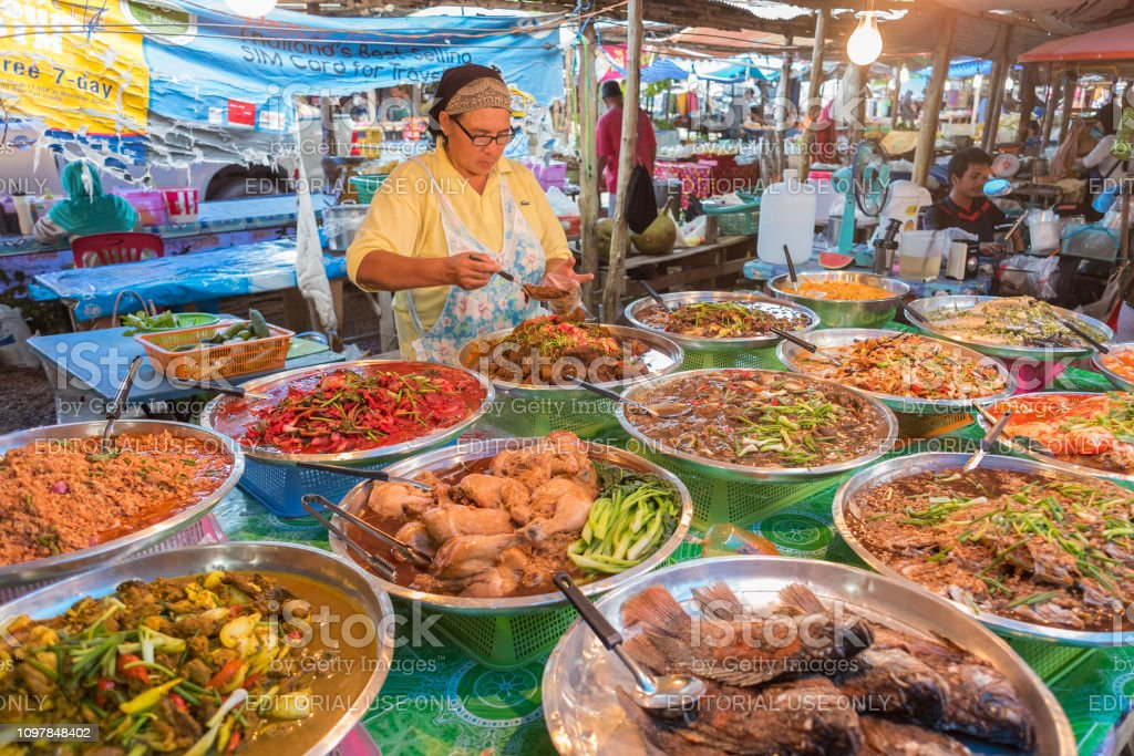Thai Food At Market In Krabi Stock Photo Download Image