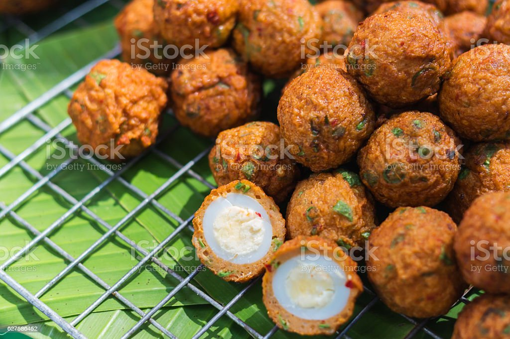 Thai Food Fried Fish Cakes stock photo