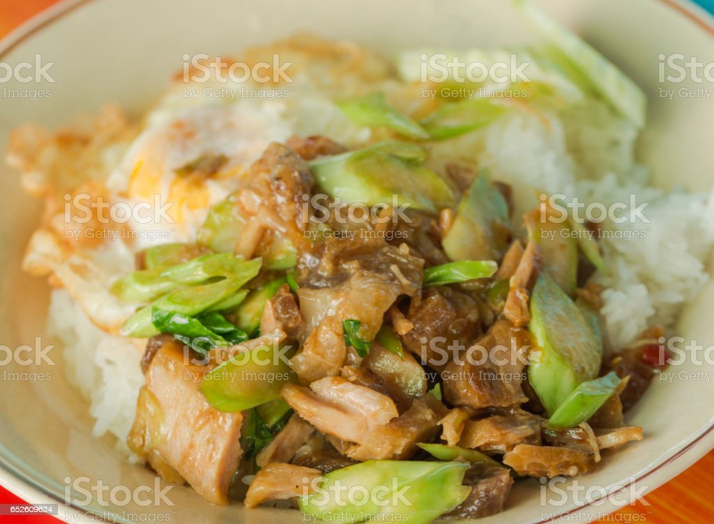 Thai food , Fried pork with kale vegetable , Rice and Fried egg stock photo