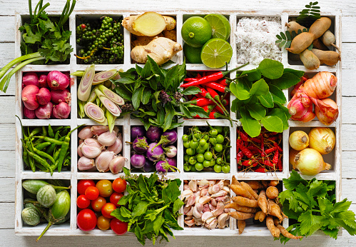 istock Thai food herbs and spice ingredients in a wooden tray. 539216699