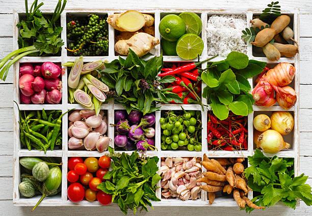 cibo tailandese erbe e spezie ingredienti in un vassoio in legno. - ingrediente foto e immagini stock