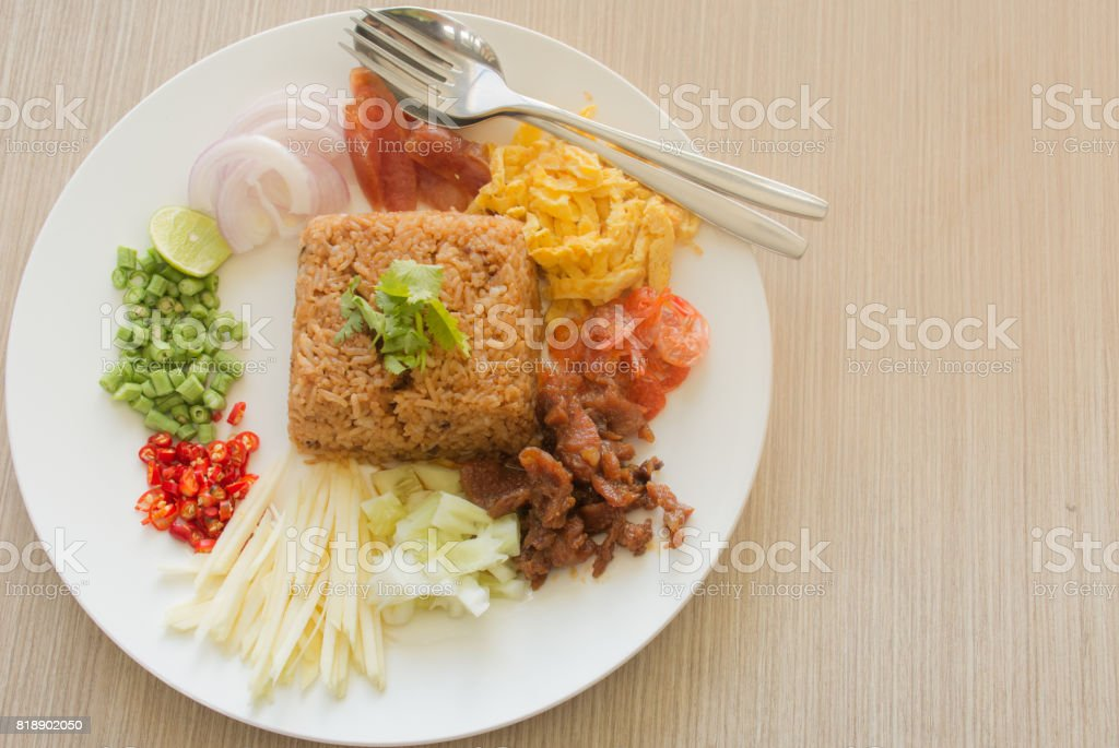 Thai food is popular with Thai people. Shrimp Fried Rice stock photo