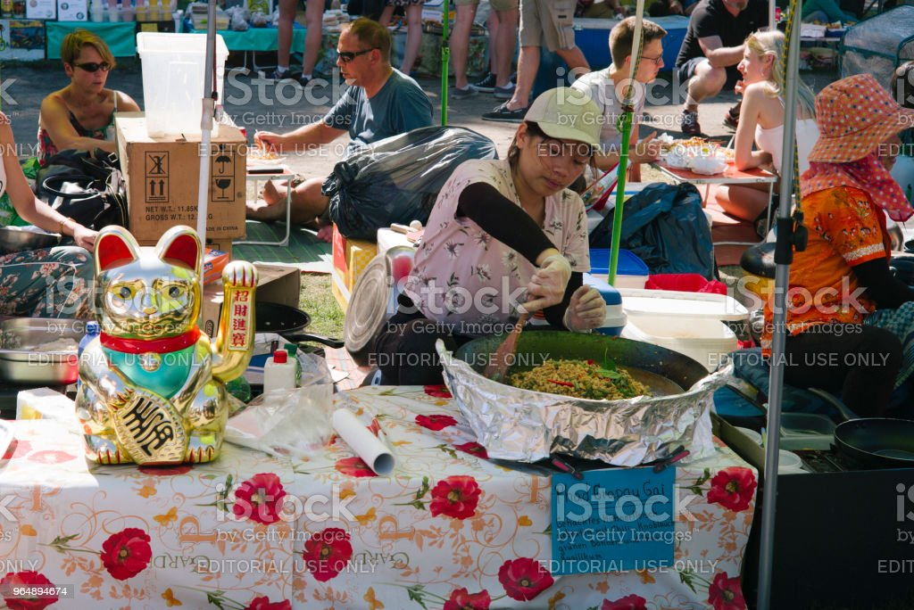 Thai food market in public park (Preussenpark) in springtime - Royalty-free Asian and Indian Ethnicities Stock Photo