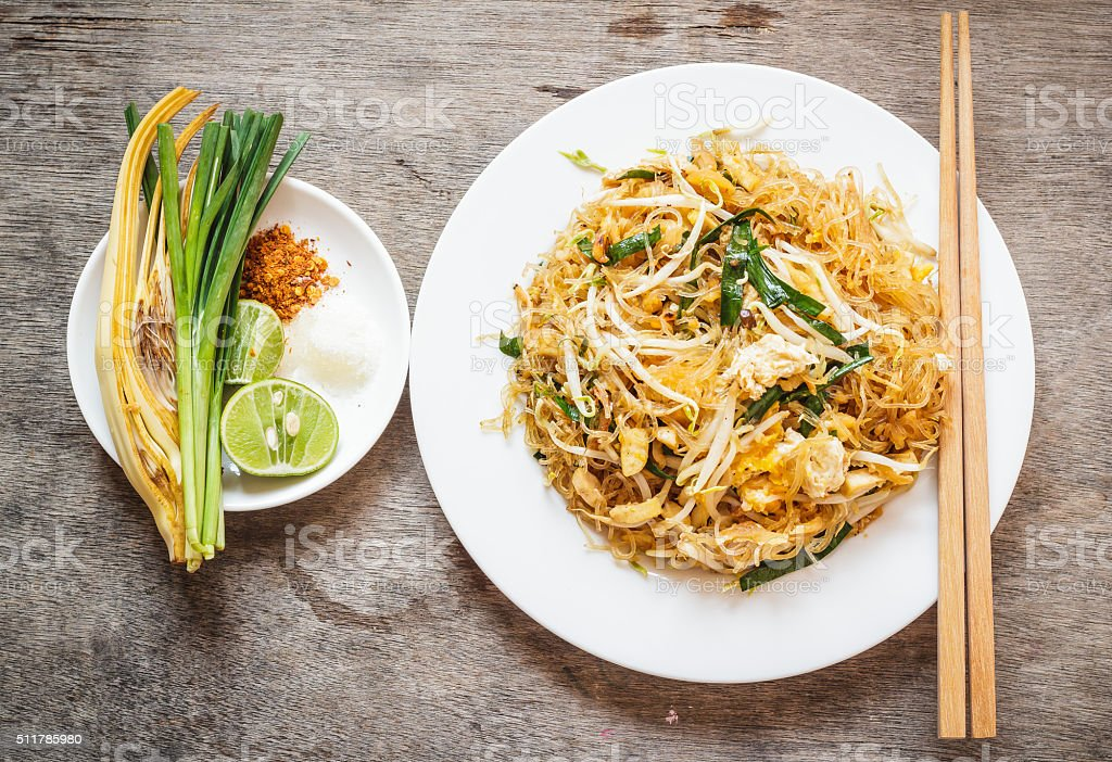 Thai food Pad thai , Stir fry noodles in padthai style stock photo