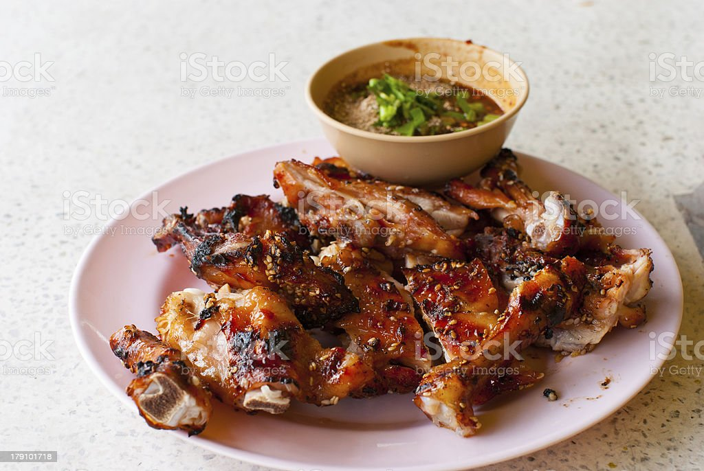 Thai food roast chicken with sauce royalty-free stock photo
