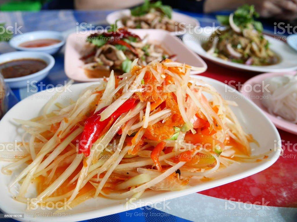 Thai food somtam stock photo