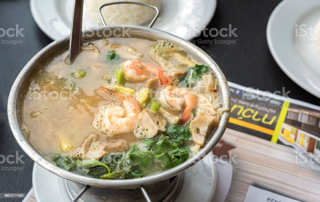 Thai Food Spicy Mixed Vegetable Soup with Prawns - street food asian style royalty-free stock photo