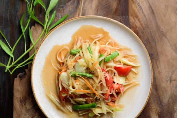 Thai food, spicy papaya salad (Som Tum) stock photo