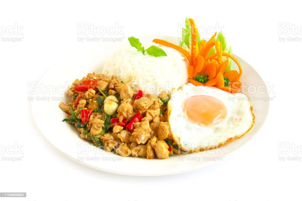 Thai Food Stirfried Chicken Spicy And Thai Basil Served With