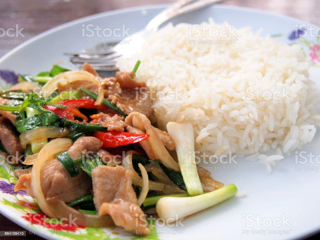 Thai food Thai spicy food, Fried pork royalty free stockfoto