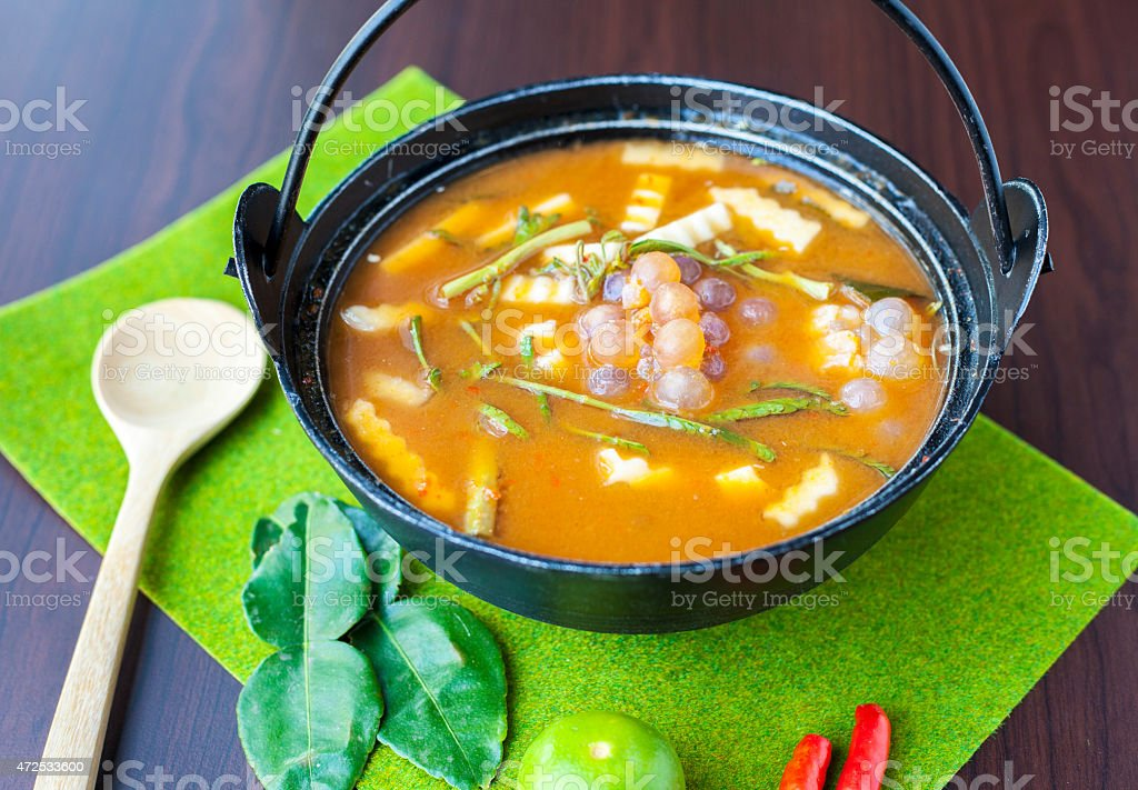 Thai food with Fish's Roe in Hot and Sour Soup stock photo