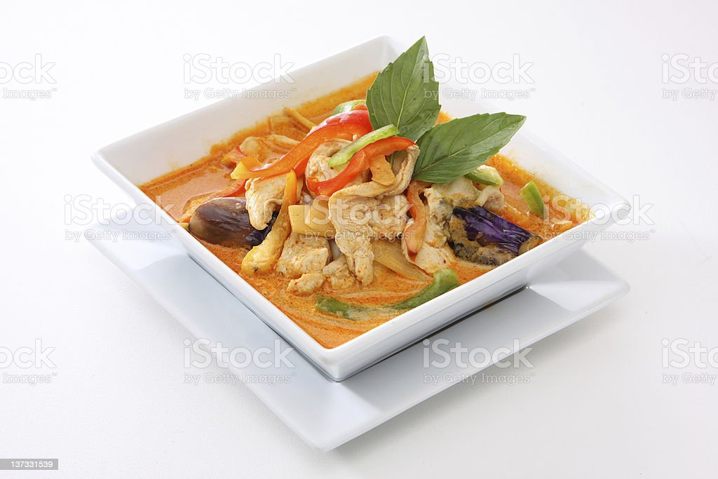 Thai food with red curry chicken stock photo