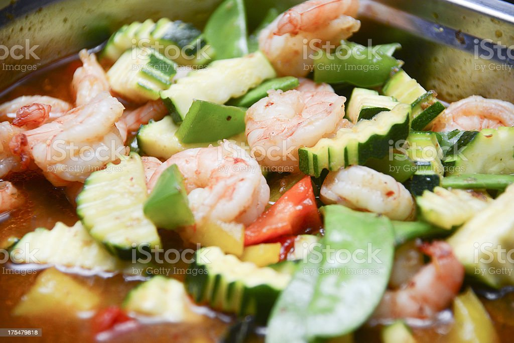 thai food with shrimps on catering buffet royalty-free stock photo