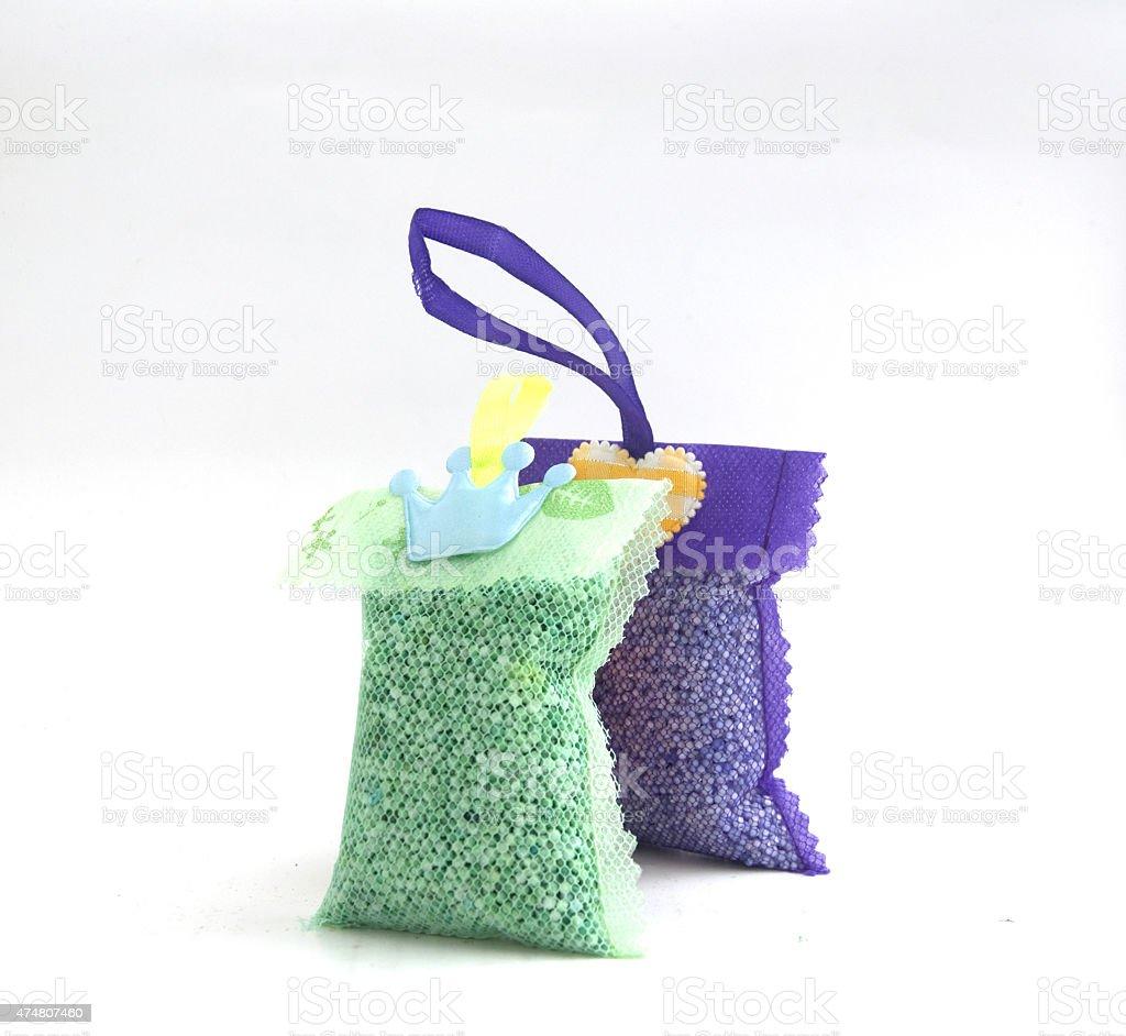 Thai freshener  in net bag for laundry stock photo